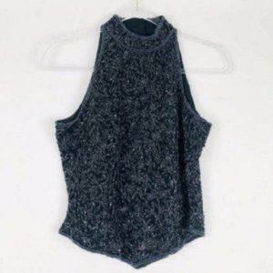 Papell Boutique (S) VINTAGE Silk Black Beaded Top